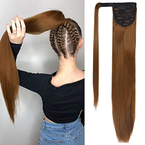 SEIKEA Wrap Around Ponytail Straight Hair Extension Clip in 28 Inch Synthetic Hairpiece - Ash Blonde