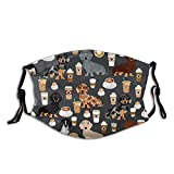 Cute Dachshund Coffee Latte Dachsie Doxie Dog Breed Cute Pattern for Weener Dog Lover Face Mask Washable Anti Dust Dog Face/Mouth Cover for Man Women Balaclava with 2 Pcs Filters