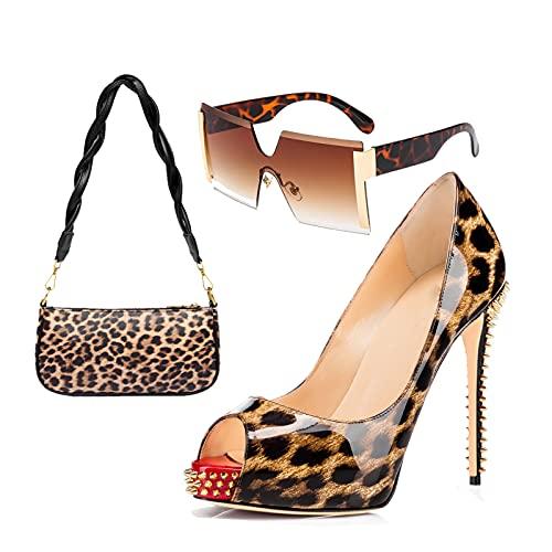 AELEGASN Señoras Sexy Sandalias y BandoleraConjunto de Gafas de Sol con Estampado de Leopardo, Tacones Altos Impermeables de Verano Conjunto de Bolsa de Zapatos de Boda,41