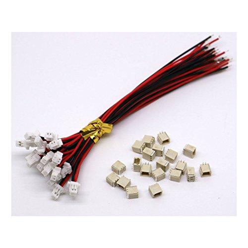 10 Sets Mini Micro Sh 1,0 JST 2 Pin-Stecker-Stecker männlich mit 100 mm Kabel & Female