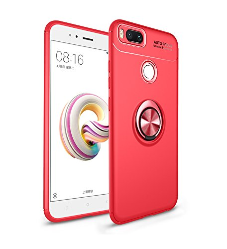 iCoverCase for Xiaomi Mi A1 Case(Xiaomi 5X Case,[Invisible Matal Ring Bracket][Magnetic Support] Shockproof Anti-Scratch Ultra-Slim Protective Cover Case Kickstand (Red+Red)