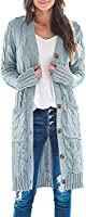 MEROKEETY Womens Long Sleeve Cable Knit Long Cardigan Open Front Button Sweater Outerwear