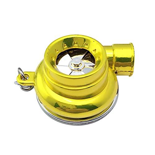 2 en 1 DIRIGIÓ Turbo Turbo Turbocompresor Llavero Mini Turbina Spinning Llavero Anillo Coche Tenedor de Llavero Anillos Keyfob (Color Name : Golden)