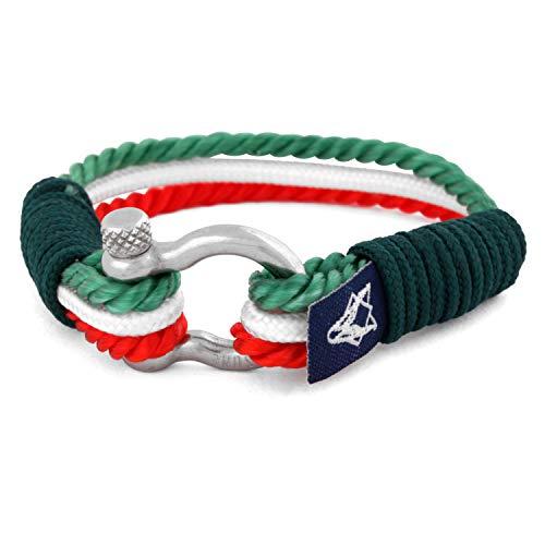 Akitsune Princeps Marítimoes Hombre Pulsera Hombreas Pulsera Bisutería Marítimo Amistad Pulsera Cuerda de Vela Náutico Ancla - Plata - Verde-Blanco- Rojo 17cm