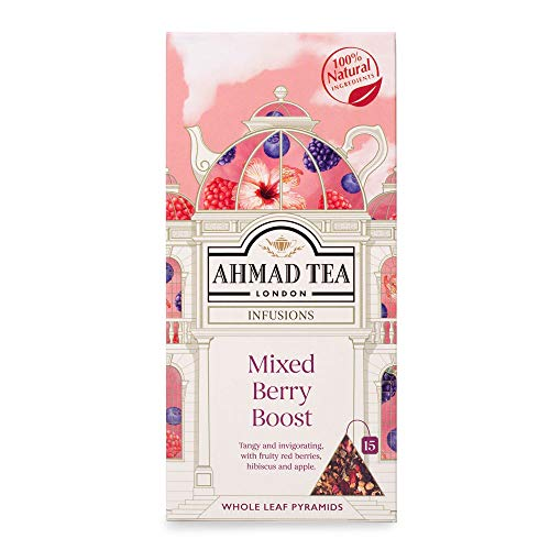 Ahmad Tea Mixed Berry Boost Fruit & Herbal Infusion, 15 Pyramid Teabags, 392 g, 75-Count