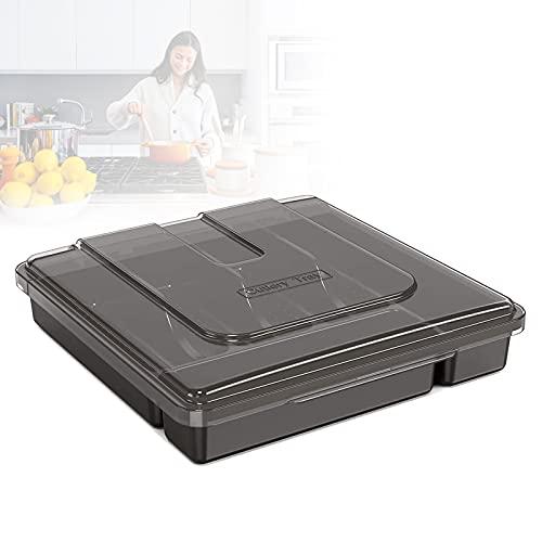 EnweLampi 5 Compartimentos Caja para Cubiertos, Porta Cubiertos Cocina con Tapa, Fácil de Limpiar, Caja de Accesorios y Cubiertos de Cocina para Guardar Cuchillos, Tenedores, Cucharas,Negro