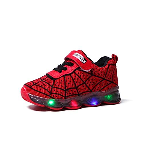 NAIKLY Kids LED leuchten Schuhe Sneakers Kleinkind Kinderschuhe Laufen Baby Mädchen Jungen leuchtende Turnschuhe Spinne Web Muster-Kinder Leuchtende Schuhe (Color : Red, Size : EUR 29)