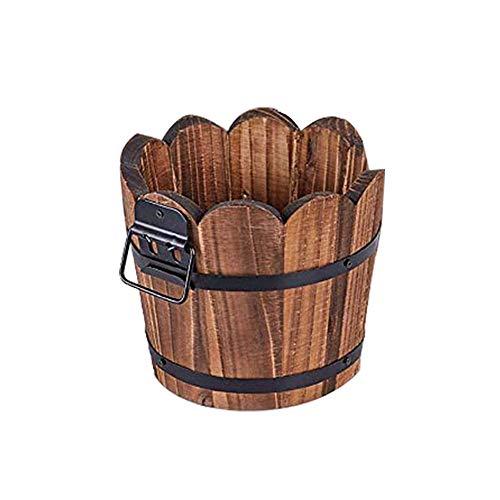 1 Articulo Macetas de madera en forma de onda carbonizada, para jardín, con orificio de drenaje, multi carne, para interiores y exteriores, tamaño L