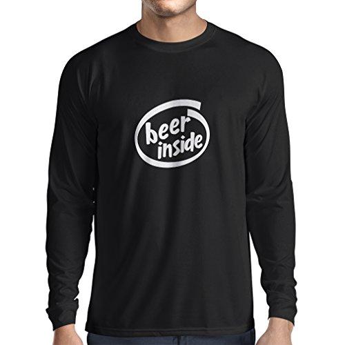 Camiseta de Manga Larga para Hombre Beer Inside - para Amantes de la Cerveza, Logotipo Divertido, Regalo humorístico, Pub, Bar, Ropa de Fiesta (Small Negro Blanco)