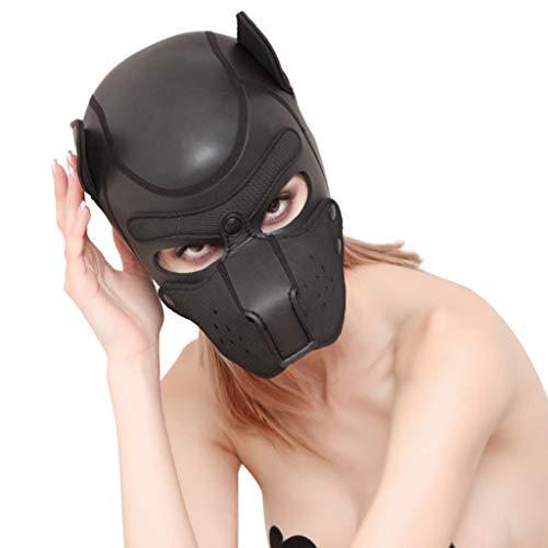 AmaMary Sexy Cosplay Cachorro máscara, Sexy Cosplay Juego de rol Perro Cabeza Llena máscara Acolchado de Goma Cachorro Jugar máscara Suave (Negro)