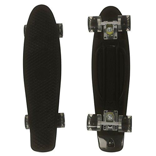 """Oppikle 22\"""" 55cm Mini Cruiser Skateboard Retro Komplettboard mit LED LeucCruiser-Board mit LED Leuchtrollen für Erwachsene Kinder Jungen Mädchen (Schwarz &Schwarz /LED)"""