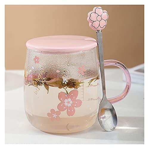 Sakura - Taza de cristal con cuchara y tapa de cerámica, diseño de flor japonesa, color rosa