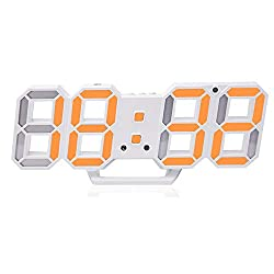 3D Digital Alarm Clock,Wall LED Number Time Clock with 3 Auto Adjust Brightness Levels,Led Electronic Clock with Snooze Function,Modern Night Light Clock Date,Temperature Display (Orange)