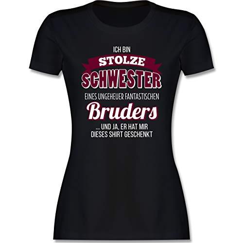 Schwester & Tante - Ich Bin stolze Schwester - M - Schwarz - t Shirt Schwester Spruch - L191 - Tailliertes Tshirt für Damen und Frauen T-Shirt