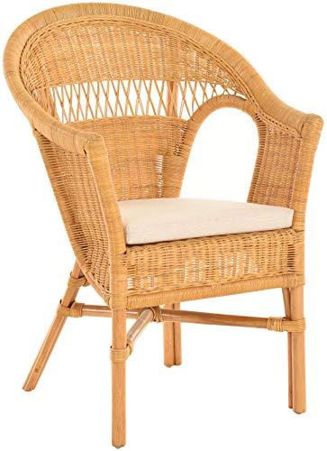 Stapelbarer Rattansessel mit Sitzpolster Korbsessel aus echtem Rattan im Landhaus Stil (Honig)