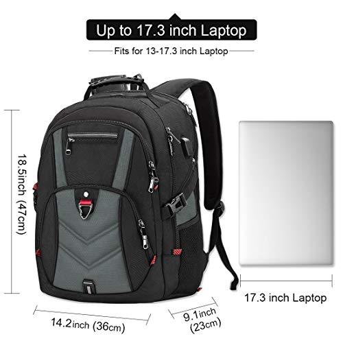 NEWHEY Laptop Rucksack Herren 17 Zoll Schulrucksack Jungen Teenager 17,3 USB Arbeit Business Wasserdicht Gross Notebook Rucksäcke für Männer (Grau)