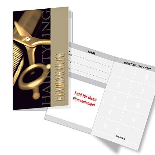 200 Bonuskarten/Kundenkarten mit 9 Feldern, für Friseurgeschäft Friseur Friseursalon. Praktisches Scheckkartenformat. Außenseiten glänzend. K582