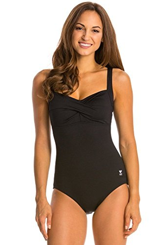 TYR Women's Twisted Bra Solid Controlfit Top (Black, 14)