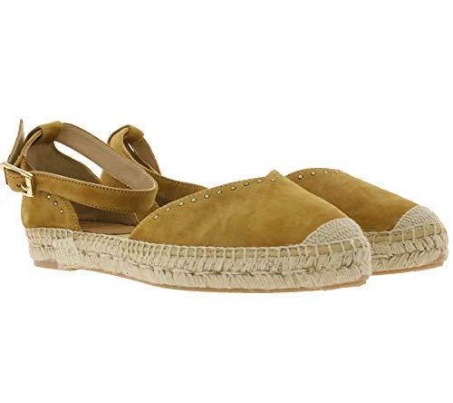 Kanna Dyna Velour Espadrilles Schlichte Damen Freizeit-Sandalette Sommer-Sandalen Ausgeh-Schuhe aus Veloursleder Braun, Größe:38