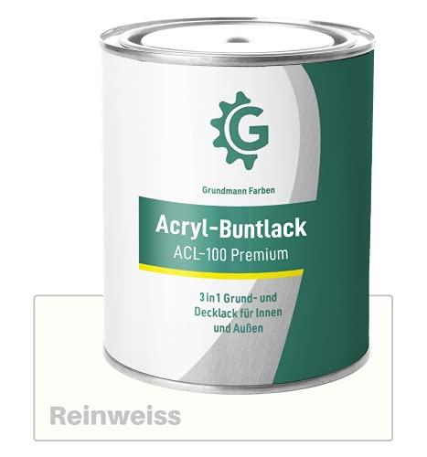 GRUNDMANN Acryllack - 3 kg Buntlack Weiss - Halb Matt - Acrylfarbe, Holzfarbe, Holzanstrich, Metallfarbe - 2in1 Lackfarbe für Holz, Metall, Plastik, Kunststoff & Beton - RAL 9010 Reinweiss