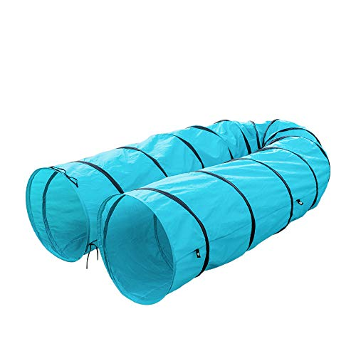 AYNEFY Pet Tunnel, 18Ft Long Pet Agility Training Tunnel Tube Open Cat Dog Play Toy Outdoor Dog Obedience Exercise Equipment with Carrying Bag Blue