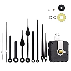 Silent Quartz DIY Wall Clock Movement Non-Ticking Repair Parts Replacement Kit Including 4 Pairs Hour Hands and Minute Hands 2 Second Hands
