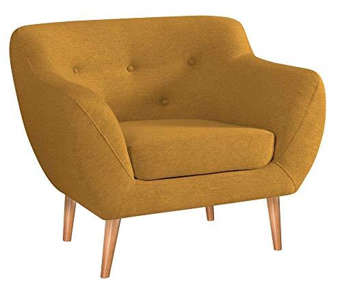 MARTHOME Gepolsterter Sessel, Stuhl aus Samtstoff, bequeme Sessel für Wohnzimmer und Schlafzimmer (Gelb)