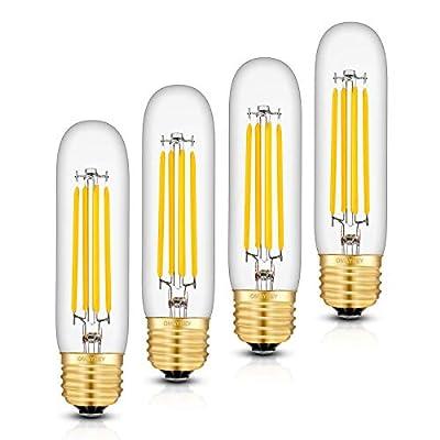 OMAYKEY 8W Dimmable LED Tubular Bulb 80W Equivalent 3000K Soft White 800LM E26 Base, Vintage Edison Tubular T30x125mm Clear Glass LED Filament Light Bulbs, 4 Pack