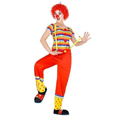 dressforfun Costume da Donna - Clown Leonie | Deliziosa Maglietta a Maniche Corte e bei Pantaloni | Incl. Parrucca stile Afro con Fiocco (S | No. 300818)