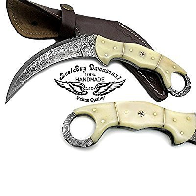 Best.Buy.Damascus1 Camel Bone 8.2'' Fixed Blade Custom Handmade Damascus Steel Hunting Knife Prime Quality