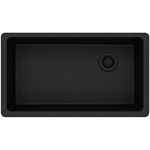 Elkay Quartz Classic ELGU13322BK0 Single Bowl Black Undermount Sink for Quartz Countertop