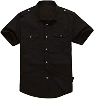 Mesinsefra Men's Cotton Solid Short Sleeve Military Button Down Shirts