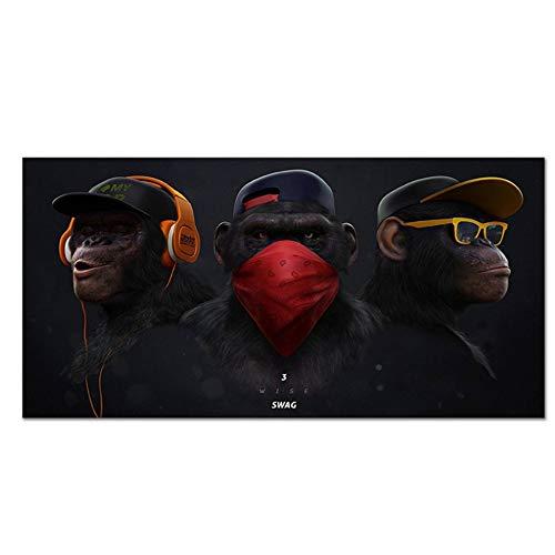 YANGMENGDAN Druck auf Leinwand Tierbilder Leinwanddruck Gemälde DJ Monkey mit Kopfhörer Wandkunst Poster Drucke für Wohnkultur 60 x 120 cm (23,6