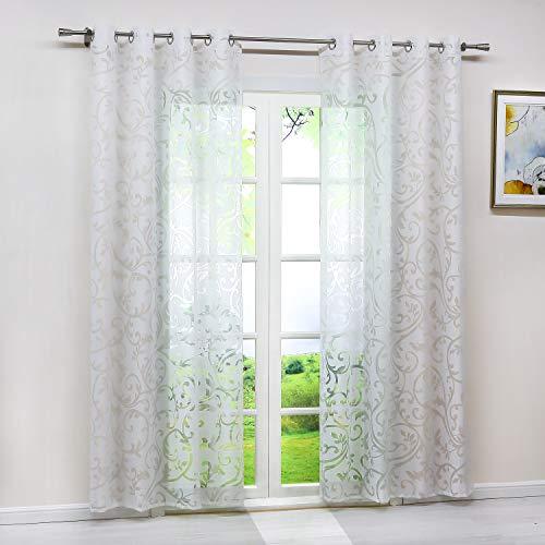 Heichkell Voile Gardinenschal mit Ösen Transparent Vorhang mit Ausbrenner Design Wohnzimmer Gardine 1PC Store BxH 140x225cm Weiß