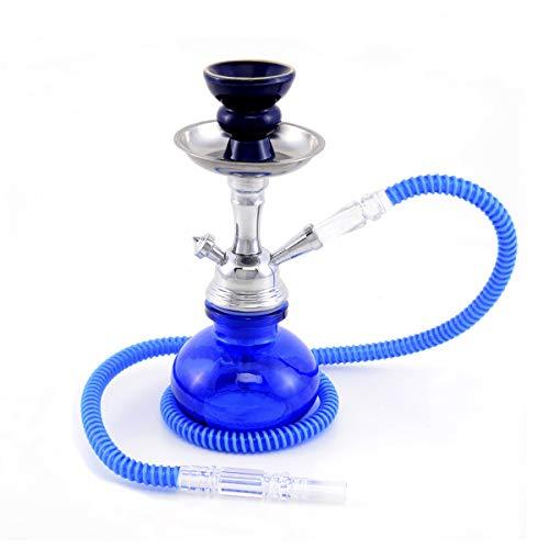 MADGROW. Cachimba Basic, Color Azul, Cristal Liso y Cuerpo metálico. 25cm.1 Manguera...