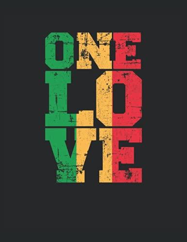 One Love Reggae Rasta Rastafari Jamaica Música: Cuaderno | Cuadriculado | A cuadros, Carta (21,59 x 27,94 cm), 120 páginas, papel crema, cubierta mate