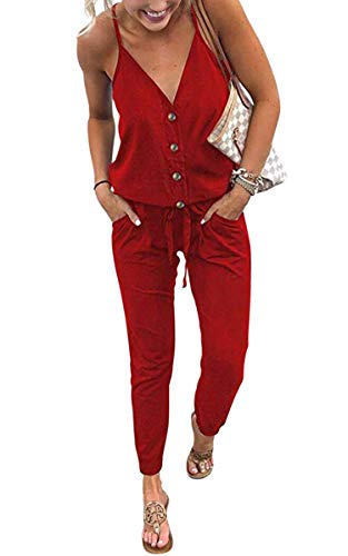 ECOWISH Women's V Neck Spaghetti Strap Drawstring Waisted Long Pants Jumpsuit Rompers 870 Red M