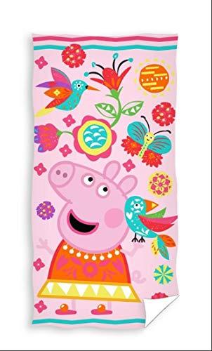 Carbotex Peppa Wutz Badetuch Mädchen Handtuch Strandtuch Duschtuch 70x140 Baumwolle Peppa Pig Kinder Badehandtuch Blumen