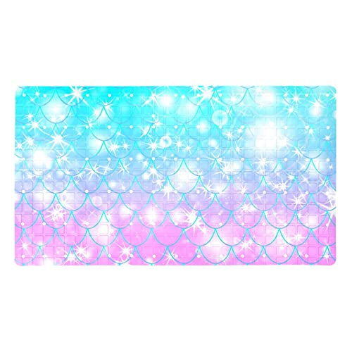 Bath Mat Non-Slip Glowing Fish Tail Suction Cups Best Durable and Stylish in Bath Mats Anti-Slip Shower Mat with Modern Design Quality Suction Cups 15.7x27.9 in