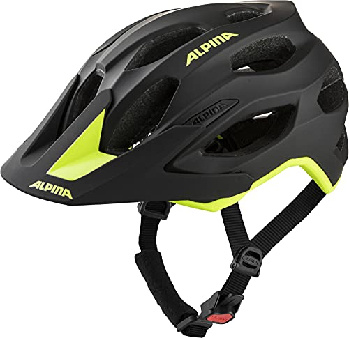ALPINA Unisex - Erwachsene, CARAPAX 2.0 Fahrradhelm, black-neon yellow matt, 52-57 cm