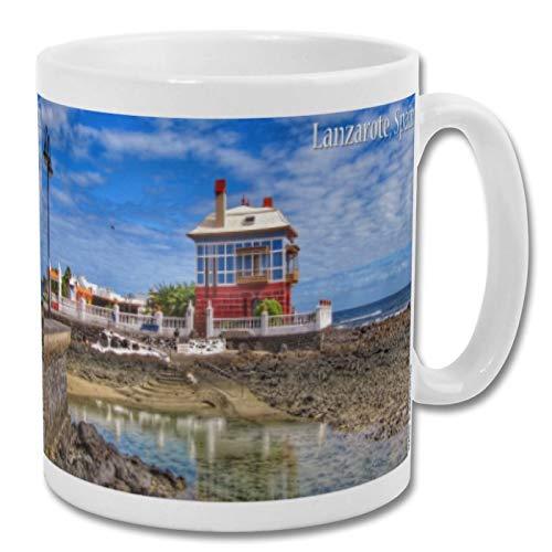 Lanzarote España Beach House & Sea - Taza de recuerdo (210 oz)