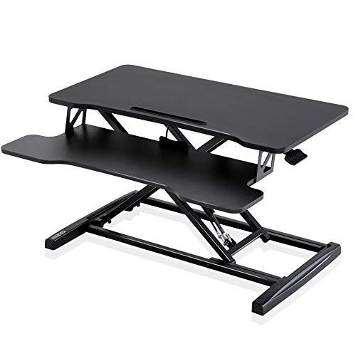 FITUEYES Stehpult Höhenverstellbarer Schreibtischaufsatz mit Tastaturablage L80*W40*H(11-50.4) cm Geeignet für Zwei Monitore SD308001WB-G