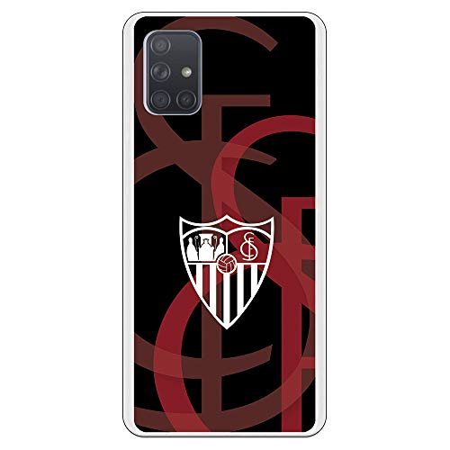Funda para Samsung Galaxy A71 Oficial del Sevilla FC Sevilla Escudo Blanco Fondo Escudo para Proteger tu móvil. Carcasa para Samsung de Silicona Flexible con Licencia Oficial del Sevilla FC.