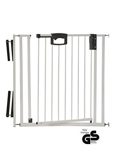 Geuther - metall Tür- und Treppenschutzgitter Easy Lock zum Einklemmen und Schwenken, weiß-silber, 84.5 - 92.5 cm