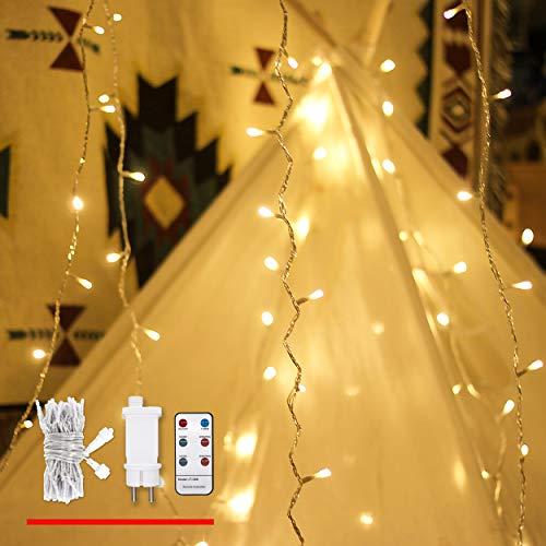 Lichterkette Strombetrieben, von myCozyLite, 15m, 100er Warmweiß LED für Innen und Außen, Weihnachten, Party, Garten, Hochzeit, Erweiterbar, mit 31V DC Transformator mit Fernbedienung und Timer