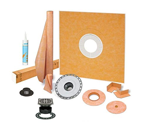 Schluter Kerdi 48 Inch x 48 Inch Shower Kit with 2 Inch PVC Flange, Stainless Steel Grate and Joint Sealant