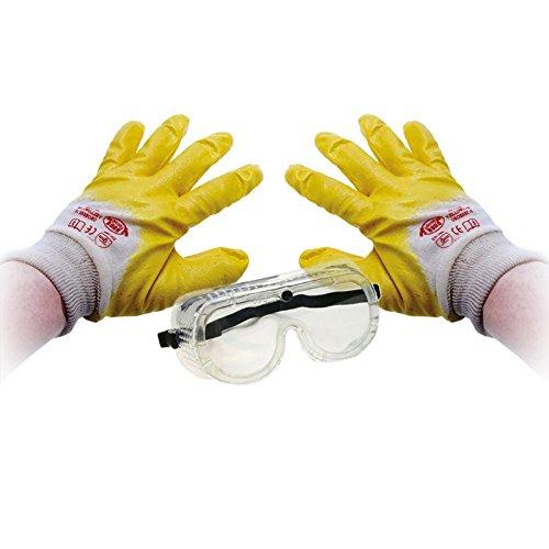 BGS Handschuhe Nitril Schutzbrille Set Schutz Arbeit Ölabweisend Fettabweisend Arbeitshandschuhe Schutzhandschuhe Nitril Beschichtung...