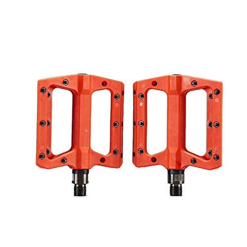 FDSJKD Pedales de Bicicleta de montaña 3 Rodamiento Antideslizante Línea Liviana de Nylon Fibra Plataforma de Bicicleta Pedales para Pedales de Bicicleta de Carretera 9/16 Pulgadas (Color : Orange)