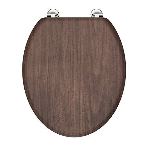 EISL EDDW05 MDF-Holzkern Sitz Dark Wood, Toilettensitz, passend für alle handelsüblichen WC-Becken, Deckel und Brille in Holzoptik, Motiv
