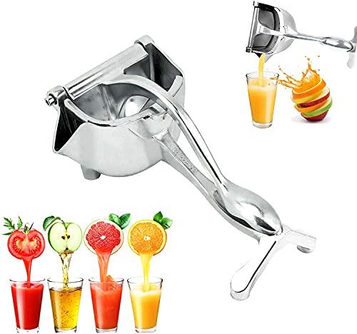 Exprimidor manual, prensa de frutas portátil limón naranja exprimidor de fruta exprimidor de mano exprimidor de frutas extractor de cítricos herramienta para todo tipo de frutas sin casco (plata)